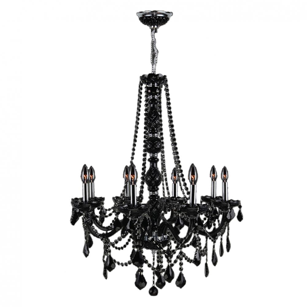Provence Collection 8 Light Chrome Finish And Black Crystal Chandelier 28 D X 34