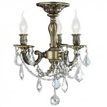 Worldwide Lighting Corp W33302BP13-CL - Windsor Collection 3 Light Antique Bronze Finish and French Pendalogue Clear Crystal Semi Flush Moun