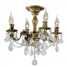 Worldwide Lighting Corp W33303BP17-CL - Windsor Collection 4 Light Antique Bronze Finish and French Pendalogue Clear Crystal Semi Flush Moun