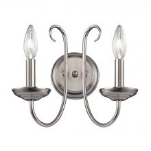 Thomas 1502WS/20 - Williamsport 2 Light Wall Sconce In Brushed Nick