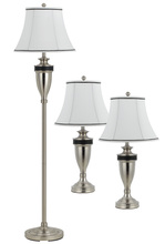 "CAL Lighting BO-2333/3 - Set Of One 65"" Height Metal Floor Lamp And Two 30.5"" Height Table Lamps In Rubbed Matte Stee"