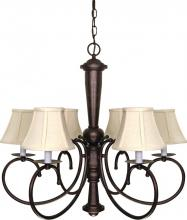 "Nuvo 60/101 - Mericana - 6 Light - 27"" - Chandelier - w/ Natural Linen Shades"