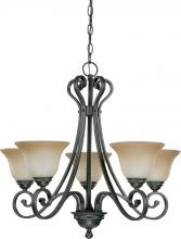 Nuvo 60/2742 - Montgomery - 5 Light (arms up) Chandelier w/ Champagne Linen Glass